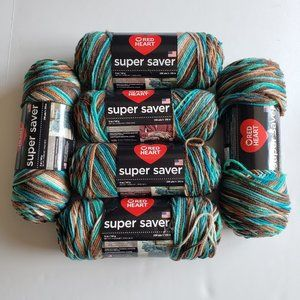 RED HEART Super Saver Yarn Lot of 6 Reef